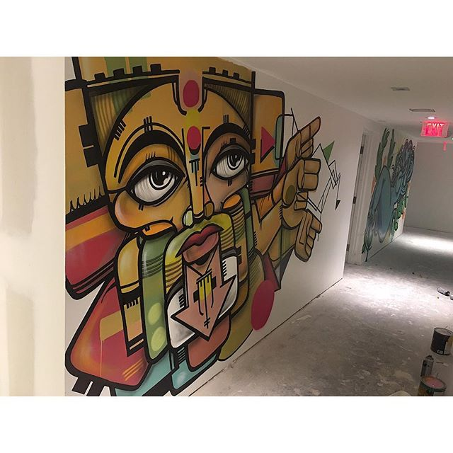 Tired today but the hallway is completed @canvasmiami thanks to @elfresco_miami for the opportunity....and for @delvs102 for painting the hallway to and playing punk music loud the only music that makes sense these days....#canvascondos