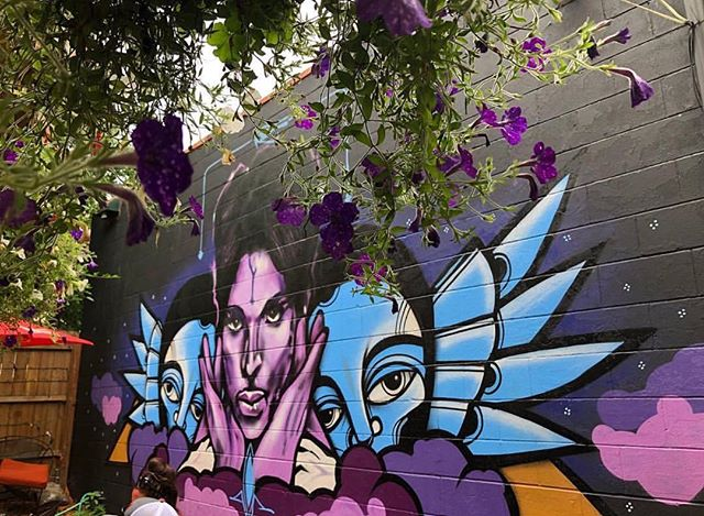 Pic by @hollybluv a dedication mural I did for Prince in #minneapolis forever purple. #prince #rasterms #purple #punksthugsandvandals #princeart #purplelove