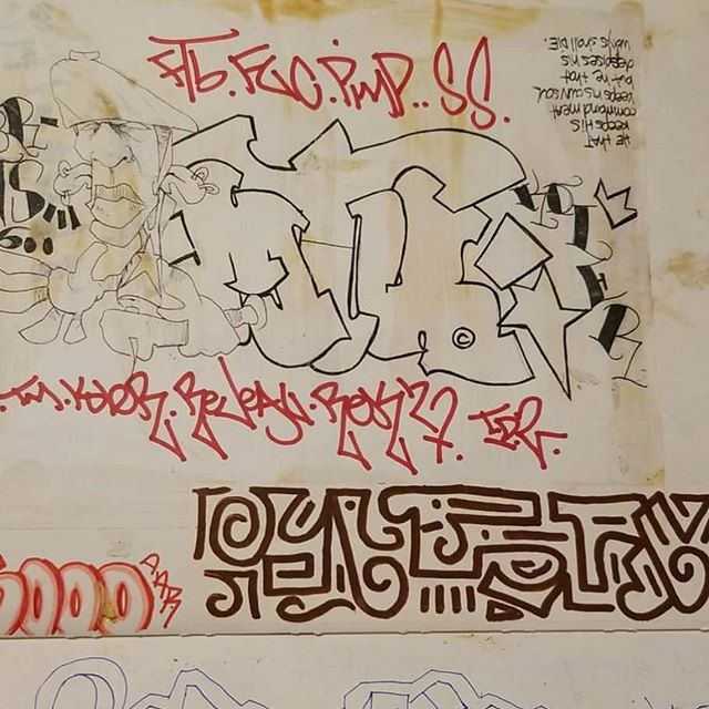 """People think oh he's just talking...but here's more proof. 1994. The """" weird"""" writing on the bottom part of this  page is me...been doing the Asemic style writing from early 90s. Thanks to @ruthtless_evil_killah_stv_wh for the picture!! #miamilegends #asemic #asemicwriting"""